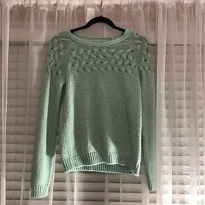 TEAL MERONA CABLE KNIT SWEATER